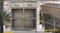 Meuble en métal esprit industriel, finition usée, 2 tiroirs et 2 portes 91cm
