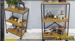 Meuble d'appoint style bibliothèque, esprit industriel à 2 niveaux, bois et métal