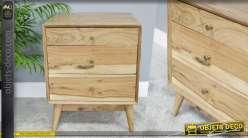 Table de chevet esprit naturel en bois d'acacia, 3 tiroirs richement veiné 62cm