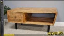 Meuble télé en bois de manguier richement veiné, sur pieds, 1 tiroir