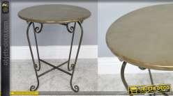 Table d'appoint ronde en métal, formes barroques, finition vieux doré et métal oxydé