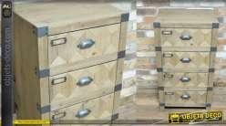 Meuble d'appoint en bois et métal, de style industriel, 4 tiroirs, 89cm