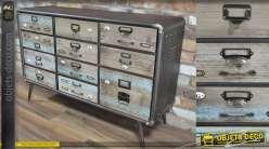 Meuble de métier en bois et métal esprit industriel, 11 tiroirs aux facades vintage