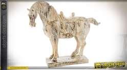 Statuette de cheval aspect vieilli imitation pierre 44 cm