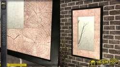 Miroir en bois et métal, esprit rustico-moderne de forme rectangulaire 80cm
