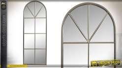 Miroir fenêtre en métal, style trompe l'oeil moderne, hauteur finale 110cm
