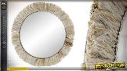 Miroir circulaire avec encadrement en jute, structure en métal, esprit bohème/nature 75cm