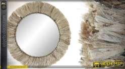 Miroir circulaire en métal et encadrement en fibre de jute, esprit bohème-nature 52cm