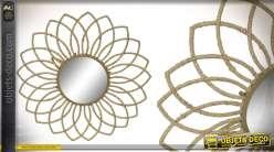 Miroir soleil en métal finition dorée et corde, esprit bohème campagne 78cm
