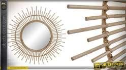 Miroir déco en forme de soleil, en bambou, esprit nature chic, 83cm de diamètre