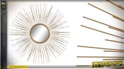 Grand miroir de déco en métal finition doré brossé, esprit miroir soleil 80cm
