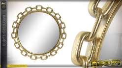 Miroir en résine finition doré brillant, de style moderne esprit chaine 34cm