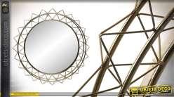 Miroir moderne en métal, encadrement en filaments doublement encerclés, 80cm