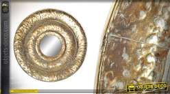 Miroir rond avec encadrement en métal finition bronze doré brillant 77cm
