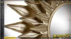 Miroir soleil en métal, triple encadrement esprit feuilles dorées, 80cm de diametre