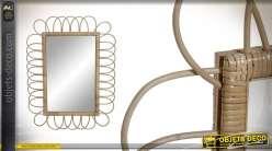 Miroir rectangulaire en osier, esprit campagne rustique, formes de pétales 81cm