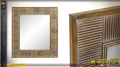 Grand miroir en bois de sapin, encadrement moderne finition naturel et blanchi, 101 cm