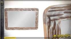 Miroir rectangulaire en acacia massif, finition naturel et blanchi, esprit campagne 90cm