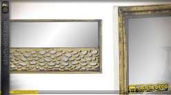 Grand panneau mural de déco avec miroir en fond, en bois finition vieux doré 100cm