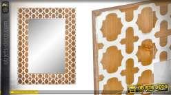 Miroir en bois, finition naturel et blanc, motifs dits girafe, esprit moderne 80cm