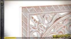 Panneau de deco mural carré avec miroir central, en bois taillé esprit mandala, 40cm