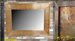 Grand miroir avec encadrement en métal effet cuivre vieilli, reflets bronze doré 122cm
