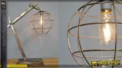 Lampe d'appoint en métal, patine effet ancien, abat jour sphérique, LED 52cm