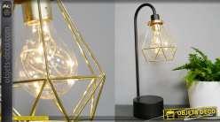 Lampe d'appoint en métal, finition noir et doré brillant, abat jour stylisé esprit filaments 38cm