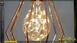 Lampe de bureau d'appoint, en métal de style moderne, finiton noir et rose doré 38cm LED