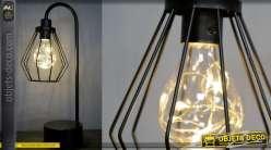 Lampe auxiliaire de style moderne en métal finition noir mate, abat jour conique 38cm