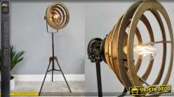 Lampadaire sur pieds en métal, style ancien projecteur, finition vieux doré 140cm