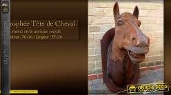 Tête de cheval oxydée sur plaque murale