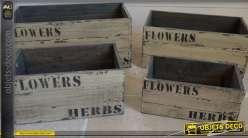 Lot de 4 caisses en bois anciennes