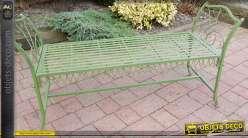 Bout de lit en fer forgé vert antique