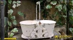 Jardinière décorative en métal patine blanc antique