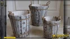 Set de 3 seaux anciens avec anses en cordages
