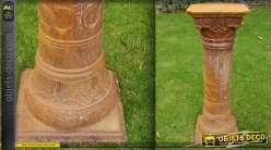 Grand socle de statue en métal finition oxydée