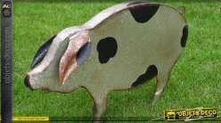 Décoration de jardin : cochon en métal