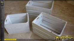 Set de 3 caisses déco  en bois blanchi