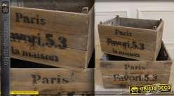 Set de deux caisses en bois rustiques