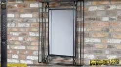 Miroir style indus en métal gris anthracite avec encadrement en relief 92 cm