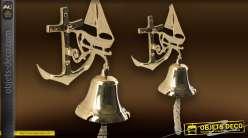Cloche de marine à accrocher en laiton doré