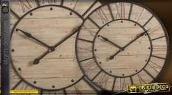 Maxi horloge Bois & Métal style indus (91 cm)