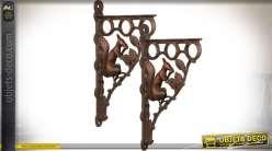 Lot de 2 grandes équerres décoratives en fer forgé et fonte motif écureuils 49 cm