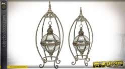 Série de 2 lanternes sphériques supendues style rétro finition dorée vieillie 82,3 cm