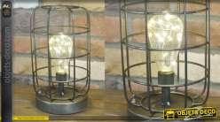 Lampe d'appoint en métal de style industriel avec ampoule à filaments LED
