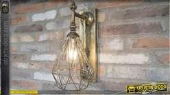 Applique murale en métal finition doré ancien, style indus chic, fonctionnant sur batterie