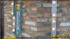Panneau indicateur style ancien bar américain, en métal avec traces de rouille, lumineux fonctionnant sur batterie