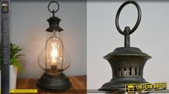 Petit luminaire d'appoint en métal style ancienne lanterne de minier, globe en verre et ampoule LED
