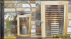 Lanterne en bois, métal chromé et hanse en corde, de style moderne zen 55cm